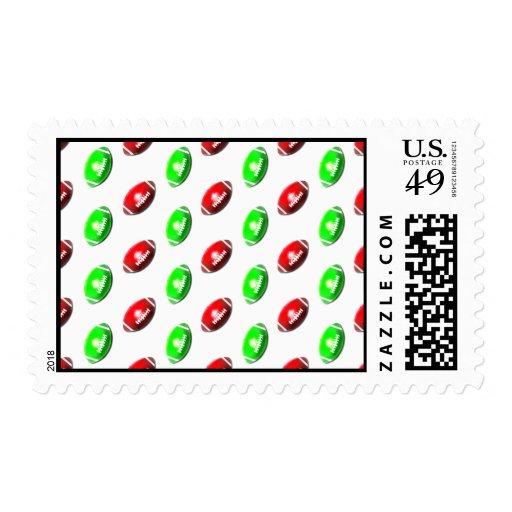 Modelo rojo y verde del fútbol sello