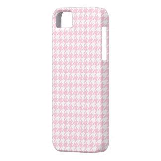 Modelo rosa claro de Houndstooth iPhone 5 Case-Mate Carcasa