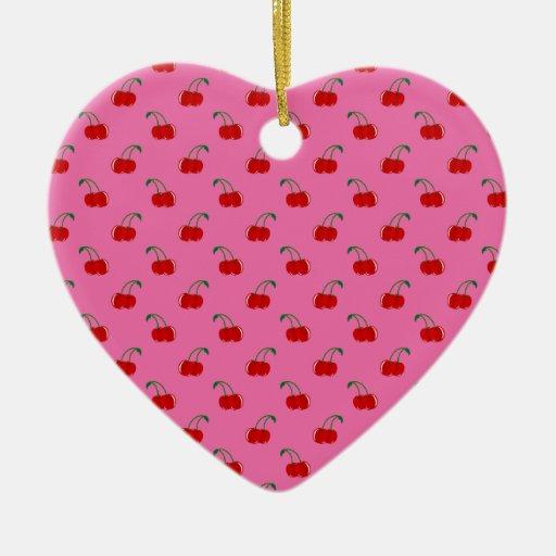 Modelo rosa claro de la cereza adorno navideño de cerámica en forma de corazón
