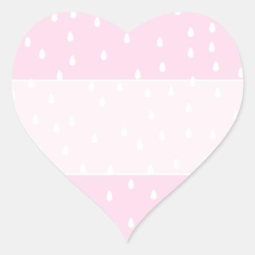 Modelo rosa claro de la lluvia. Blanco y rosa Pegatina En Forma De Corazón