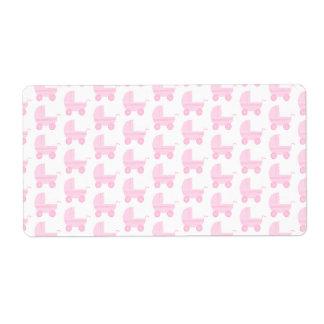 Modelo rosa claro y blanco del cochecito de bebé etiqueta de envío