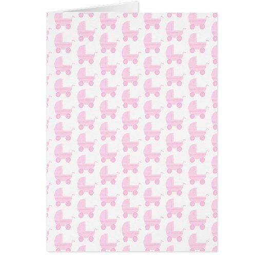 Modelo rosa claro y blanco del cochecito de bebé tarjeta