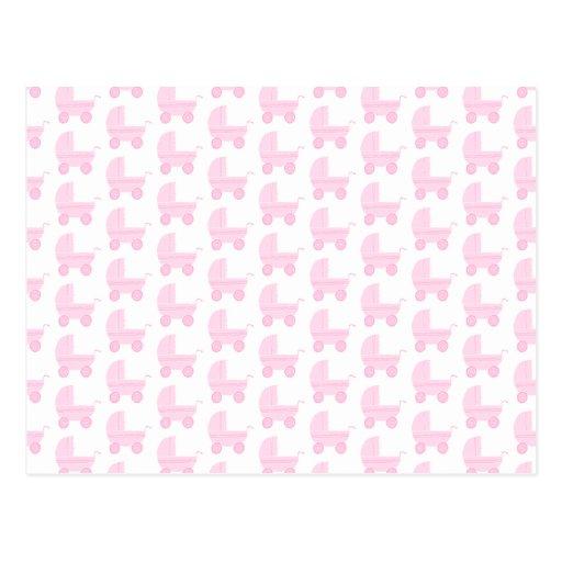 Modelo rosa claro y blanco del cochecito de bebé tarjeta postal