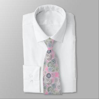 Modelo, rosa y gris del remolino del fractal corbatas personalizadas