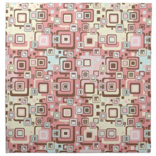 Modelo rosado abstracto de los cuadrados servilleta imprimida