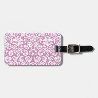 Modelo rosado antiguo del damasco etiqueta para maleta