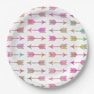 Modelo rosado artístico de las flechas de la platos de papel