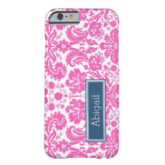 Modelo rosado azul conocido de encargo del damasco funda de iPhone 6 barely there