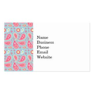 Modelo rosado azul y bonito brillante de Paisley Tarjeta De Visita