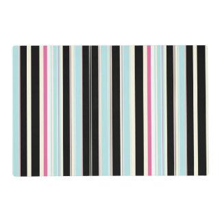 Modelo rosado blanco azul negro de la raya tapete individual