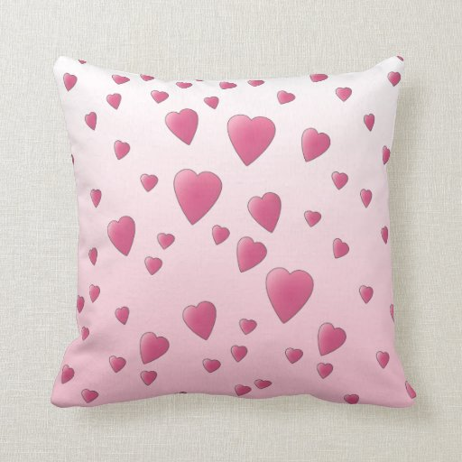 Modelo rosado bonito de los corazones del amor cojín