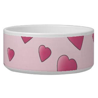 Modelo rosado bonito de los corazones del amor comedero para mascota