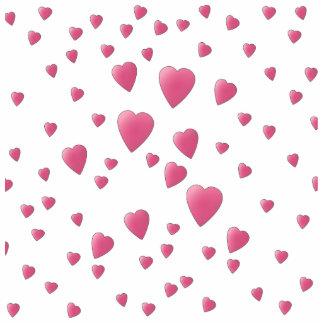 Modelo rosado bonito de los corazones del amor fotoescultura vertical