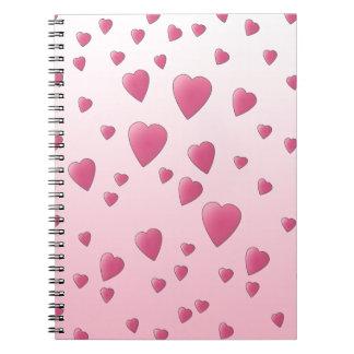 Modelo rosado bonito de los corazones del amor libreta espiral
