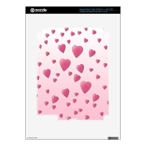 Modelo rosado bonito de los corazones del amor iPad 3 skin