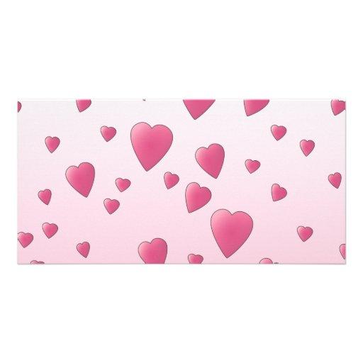 Modelo rosado bonito de los corazones del amor tarjeta personal con foto