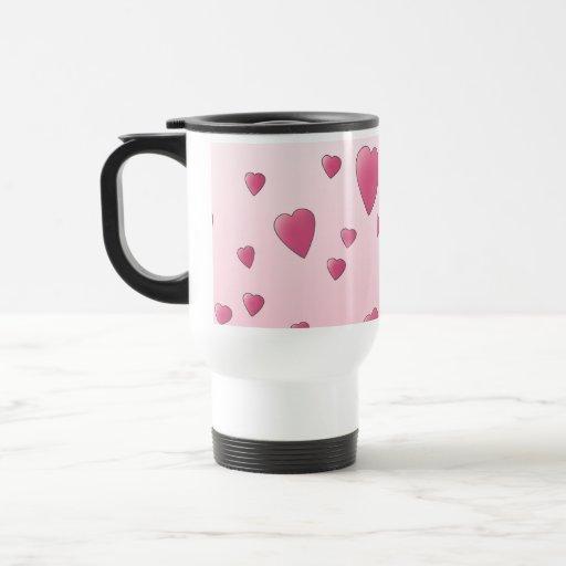 Modelo rosado bonito de los corazones del amor taza de viaje