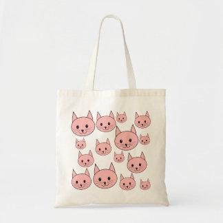 Modelo rosado bonito de los gatos bolsa tela barata