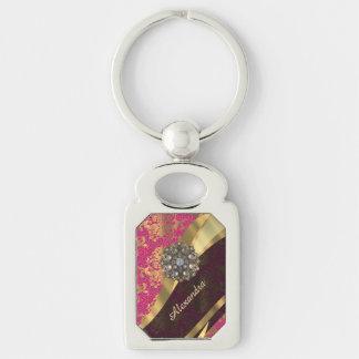 Modelo rosado bonito personalizado del damasco llavero plateado rectangular