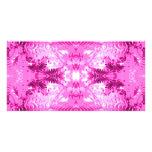 Modelo rosado brillante de la hoja del helecho tarjetas fotográficas personalizadas