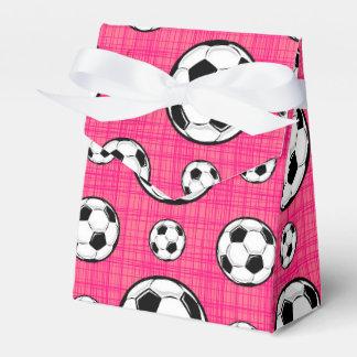 Modelo rosado brillante del balón de fútbol cajas para detalles de boda
