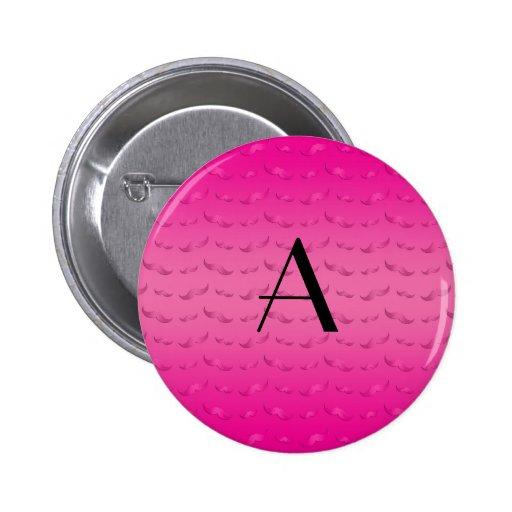 Modelo rosado brillante del bigote del monograma pin redondo 5 cm