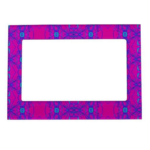 Modelo rosado brillante del cordón de la turquesa marcos magneticos de fotos