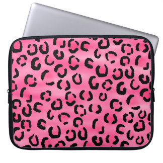 Modelo rosado brillante del estampado leopardo mangas portátiles