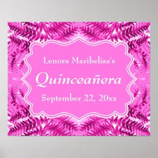Modelo rosado brillante Quinceanera del follaje Poster