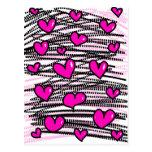 Modelo rosado caprichoso del corazón del amor del  tarjetas postales