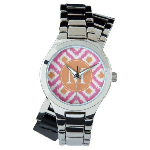 Modelo rosado con monograma de Ikat del diamante Relojes De Pulsera