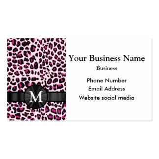 Modelo rosado con monograma del estampado leopardo tarjetas de visita