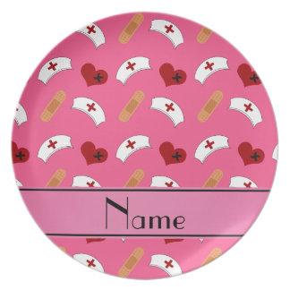 Modelo rosado conocido personalizado de la plato de comida