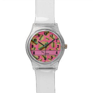 Modelo rosado conocido personalizado de la relojes de pulsera