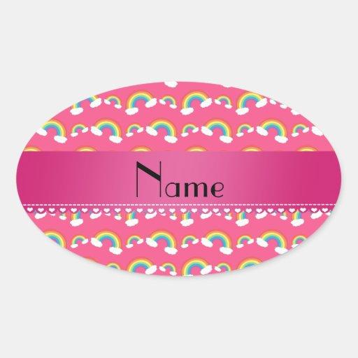 Modelo rosado conocido personalizado de los arco pegatina ovalada