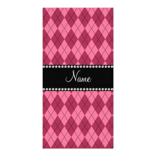 Modelo rosado conocido personalizado del argyle tarjeta personal