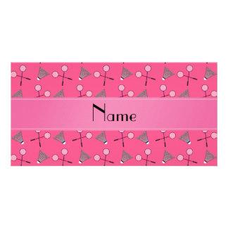 Modelo rosado conocido personalizado del bádminton tarjetas personales con fotos