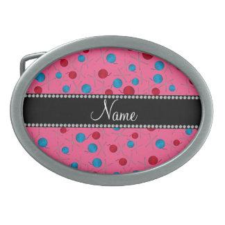 Modelo rosado conocido personalizado del ganchillo hebilla de cinturón oval