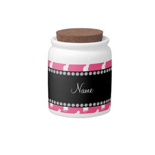 Modelo rosado conocido personalizado del gato jarra para caramelo
