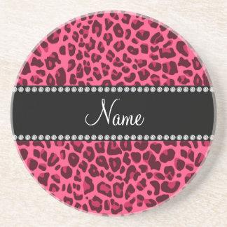 Modelo rosado conocido personalizado del leopardo posavasos manualidades