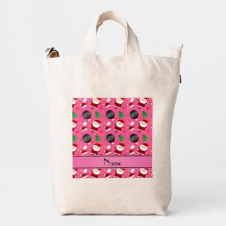 Modelo rosado conocido personalizado del navidad bolsa de lona duck