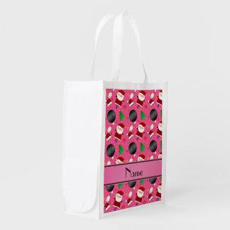Modelo rosado conocido personalizado del navidad bolsas de la compra