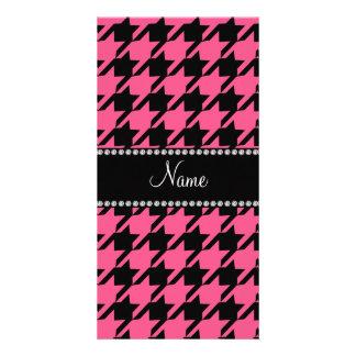 Modelo rosado conocido personalizado del tarjetas con fotos personalizadas