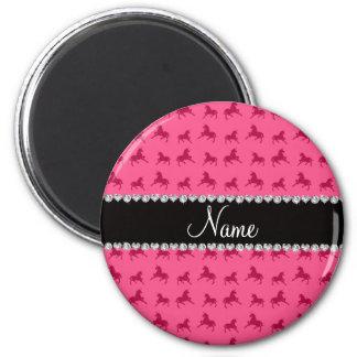 Modelo rosado conocido personalizado del unicornio imán redondo 5 cm