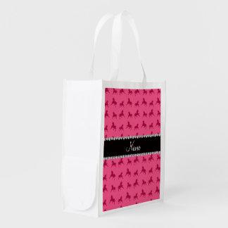 Modelo rosado conocido personalizado del unicornio bolsa reutilizable