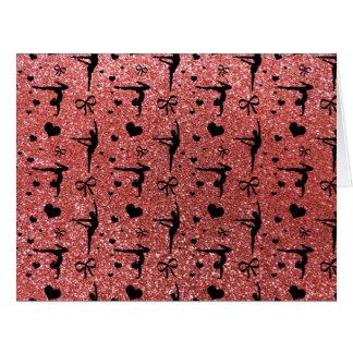 Modelo rosado coralino del brillo de la gimnasia tarjeta de felicitación grande