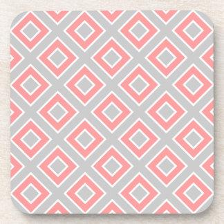 Modelo rosado coralino gris geométrico moderno posavaso