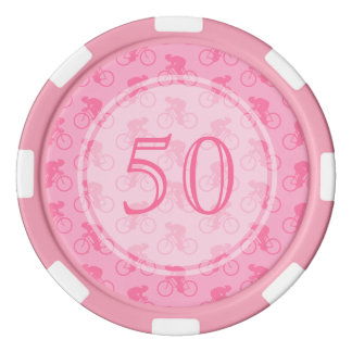 Modelo rosado de la bicicleta juego de fichas de póquer