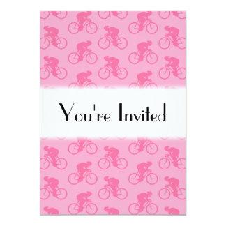 Modelo rosado de la bicicleta invitación 12,7 x 17,8 cm