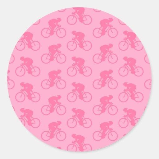 Modelo rosado de la bicicleta pegatina redonda
